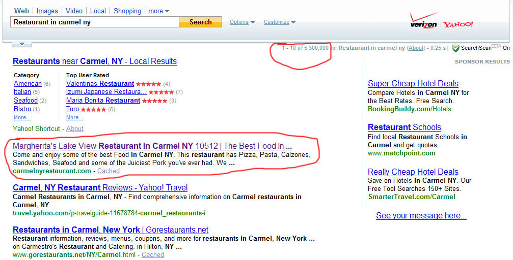 Yahoo Results For Margherita's Restaurant